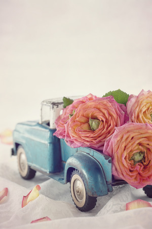 Old antique toy truck carrying a roses on romantic lace background Stock Photo