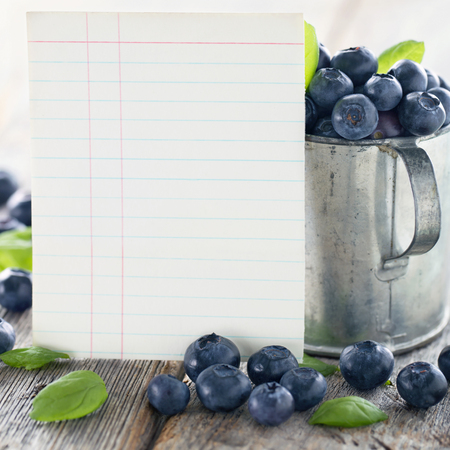 vintage card: Cup of blueberries with a blank index card for a recipe