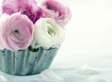 Pink ranunculus flowers in a metal tin cup Banco de Imagens