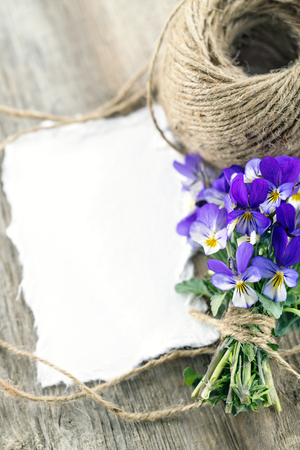 blank note: Bouquet of spring pansies with a blank note on wooden vintage background; Mothers day greeting