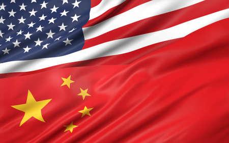 3D illustration of USA and China flag