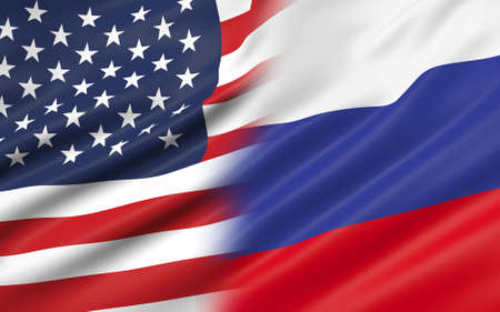 3D illustration of USA and Russia flag
