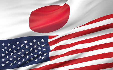 3D illustration of Japan and USA flag Stock Photo