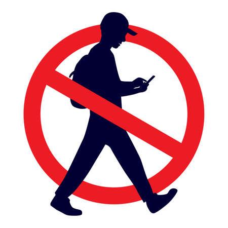 No se permite enviar mensajes de texto mientras se camina Ilustración de vector