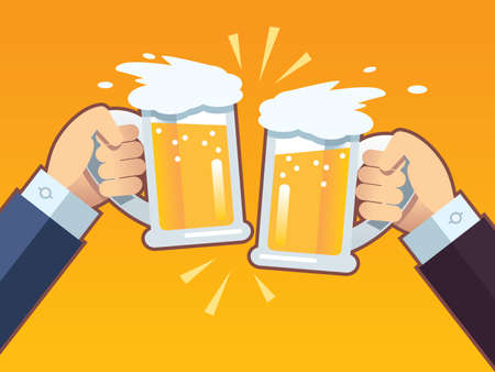 Toast with beer 向量圖像
