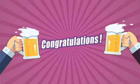 Toast with beer congratulations 向量圖像