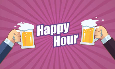Toast with beer happy hour