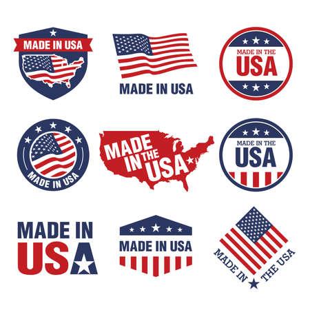 Wektor zestaw etykiet wyprodukowanych w USA Ilustracje wektorowe