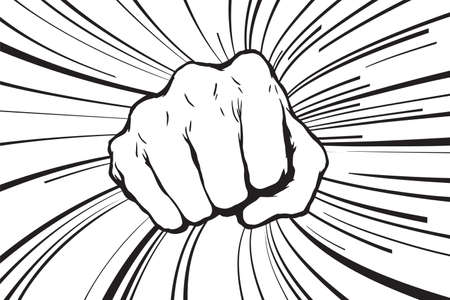 Punching fist hand vector