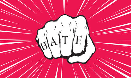 Punch fist with hate message Vectores