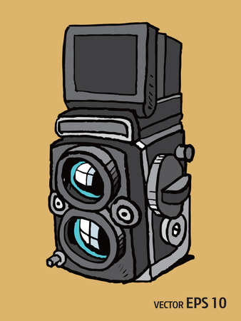 style de croquis de vecteur d'appareil photo rétro