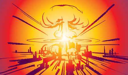 Nuclear bomb explosion illustration vector