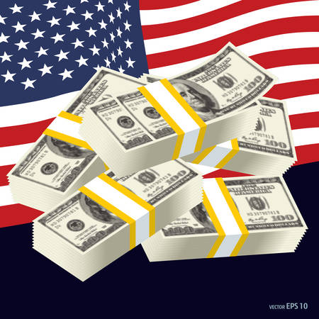 Dollar banknotes, us currency money bills vector 矢量图像