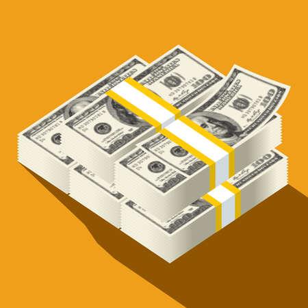 Dollar banknotes, us currency money bills vector Illustration