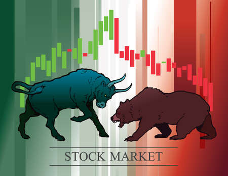 Bull and bear, symbols of stock market trends. Vector illustration