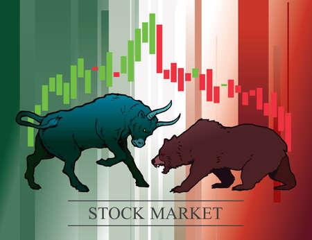 Toro e orso, simboli delle tendenze del mercato azionario. Illustrazione vettoriale