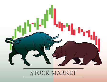 Stier en beer, symbolen van trends op de aandelenmarkt. vector illustratie