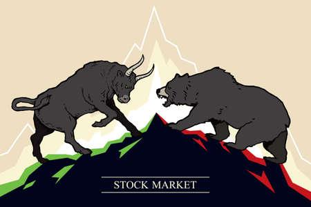 Bull und Bär, Symbole für Börsentrends. Vektor-Illustration Vektorgrafik