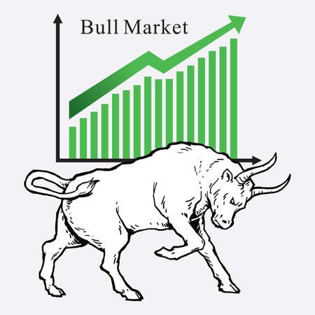 Bull market symbols of stock market trends. Vector illustration