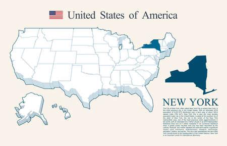USA map vector, New York