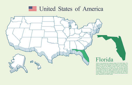 USA map vector, Florida Ilustrace
