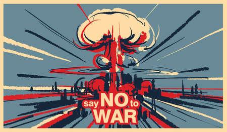 Dì no alla guerra, vettore dell'illustrazione dell'esplosione della bomba nucleare Vettoriali