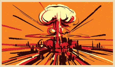 Illustrazione vettoriale di esplosione della bomba nucleare Vettoriali