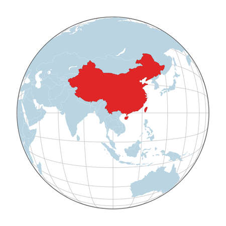 Map of China on political globe