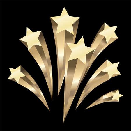 Gold Stars burst elements, Vector illustration Vector Illustration