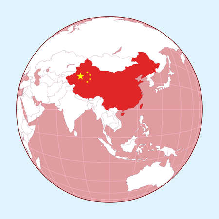 Map of China on political globe vector