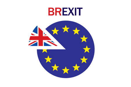 Brexit referendum concept about UK (United Kingdom or British) withdrawal from the EU (European Union) often shortened to Brexit. Vector