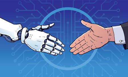 Apretón de manos humano y robot de negocios, vector de ilustración