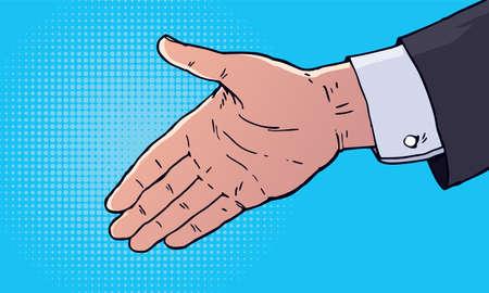 Businessman hand going to handshake, Vector illustration