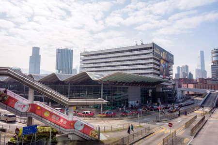Hung Hom, Kowloon, Hong Kong - 22 December 2018: Hung Hom metro station in Hong Kong. Over 90% daily travelers use public transport in Hong Kong.