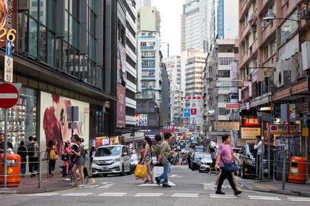03 October, 2018 - Tsim Sha Tsui, Hong Kong : People on busy street in Tsim Sha Tsui, a center of various shopping places and famous landmark of HongKong.