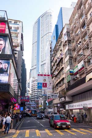 Tsim Sha Tsui, Hong Kong - 07 November, 2018 : People walk in Tsim Sha Tsui district. Tsim Sha Tsui is one of the major shopping areas in Hong Kong. 에디토리얼