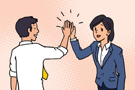 Businessman giving high five to his partner, colleague, friend. Business concept of cooperation, partnership, celebration, enjoyment.