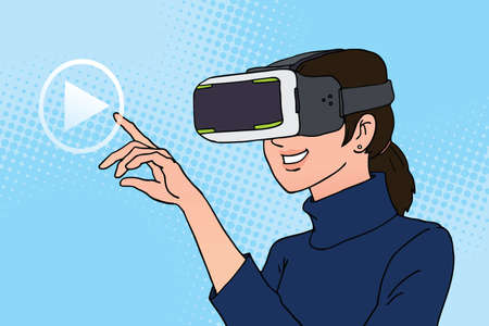 woman using virtual reality headset ,illustration vector Stock Illustratie