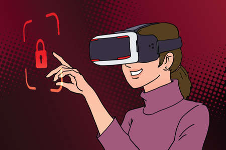 woman using virtual reality headset with lock icon ,illustration vector