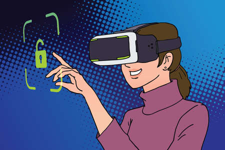 woman using virtual reality headset with unlock icon ,illustration vector