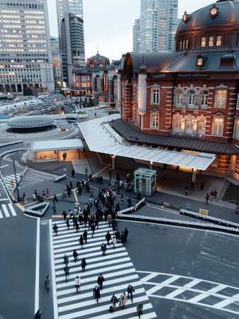 Tokyo, Japan - 09 April 2015: Tokyo station night cityscape. Tokyo train station is a hub of Japans JR train network.