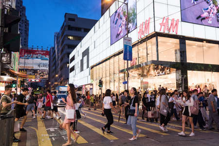 Hong Kong, China -29 August 2019: Street view in Mongkok district. Mongkok is one of the major shopping areas in Hong Kong. Stock fotó - 129281193
