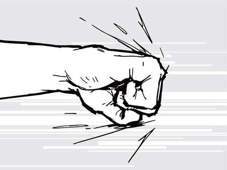 Mano, puño golpeando o golpeando. Arte pop cómico, símbolo. Ilustración de vector