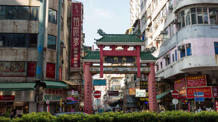 Hong Kong, China -16 October 2019: Temple street market in Yau Ma Tei Hong Kong. Temple Street is the most famous night market. Late night shopping is quite typical for Hong Kong culture.
