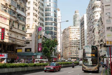 Hong Kong, China -16 October 2019: Street view in Jordan district.