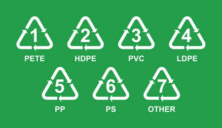 Index of Recycling Symbols with numbers for plastic Stock Illustratie