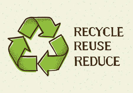 Sketch doodle recycle reuse reduce symbol isolated on craft paper background. Recycle icon sign for ecological. Hand-drawn style