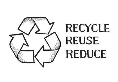 Sketch doodle recycle reuse reduce symbol isolated on craft paper background. Recycle icon sign for ecological. Hand-drawn style vector Stock Illustratie