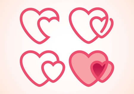 double red love heart icon, happy valentine day, illustration vector