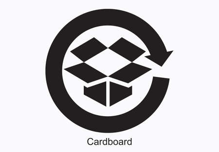Japanese recycling symbol for Cardboard containers and packaging, vector illustration